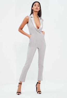 Grey Satin Lapel Sleeveless Blazer Jumpsuit