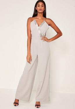 Grey Satin Contrast Tailored Wrap Jumpsuit