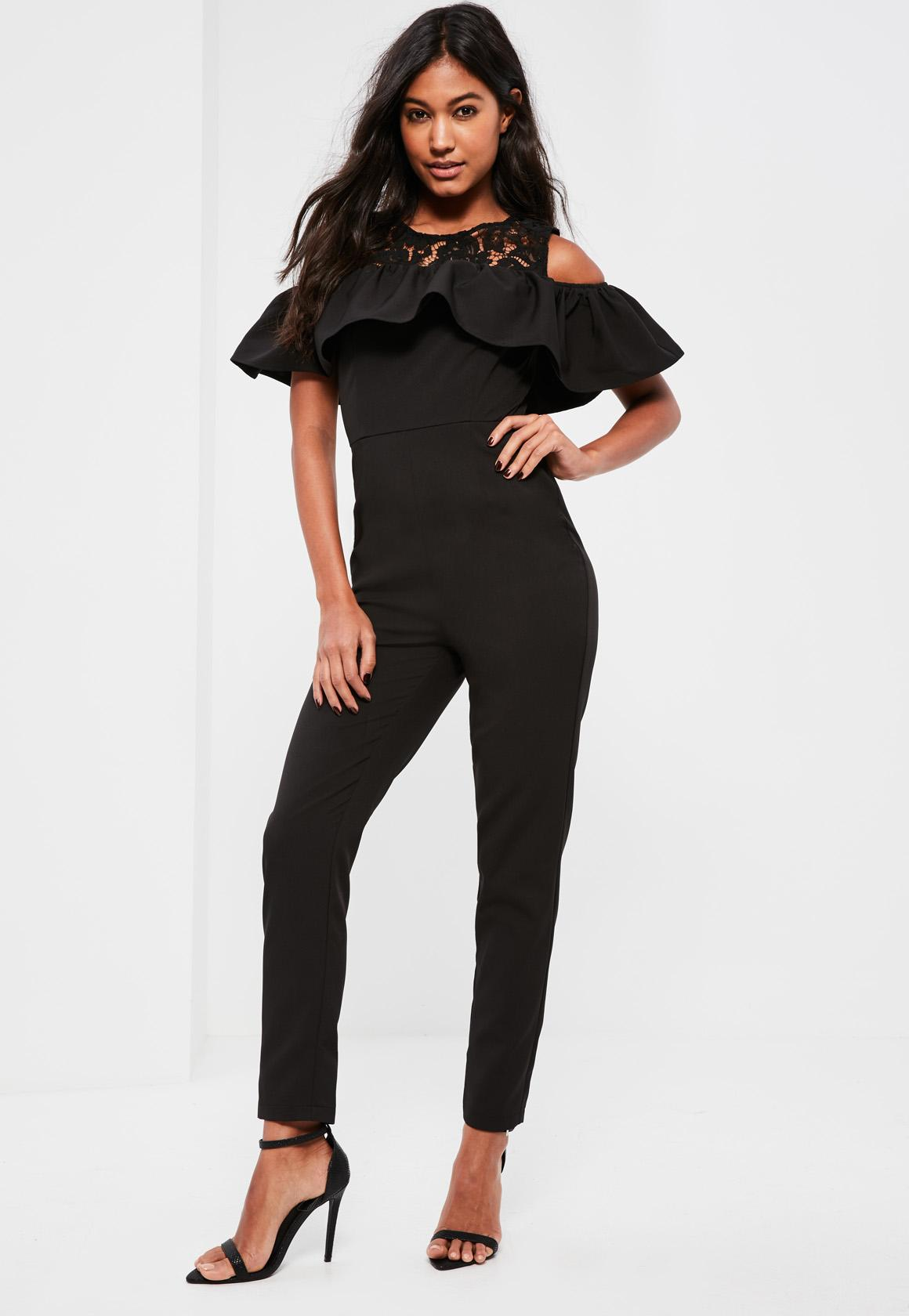 Black Lace Detail Frill Overlay Jumpsuit
