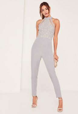 Grey Lace High Neck Sleeveless Jumpsuit