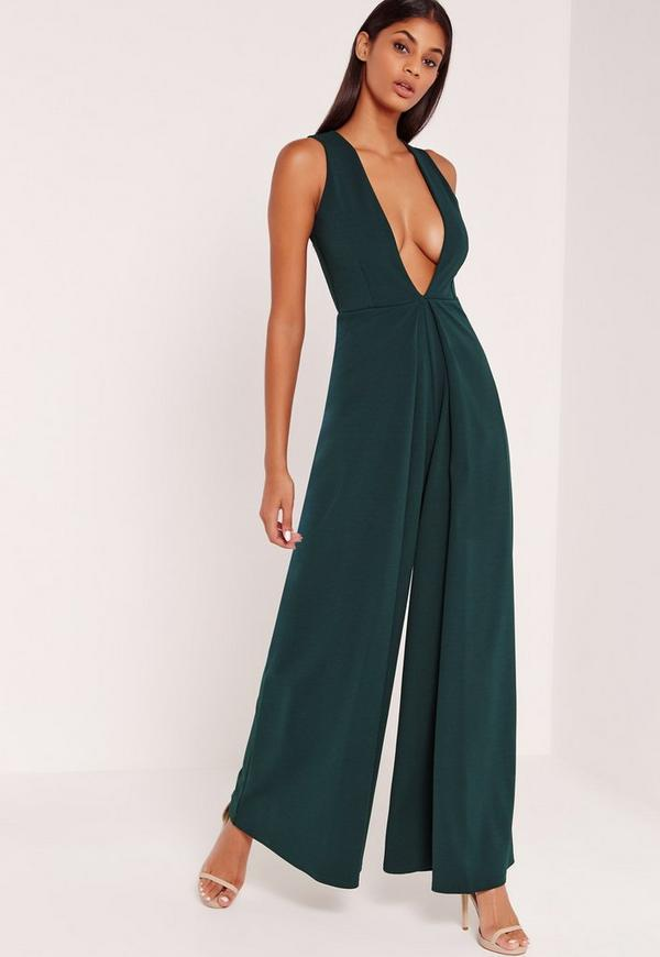 Crepe Origami Detail Jumpsuit Green