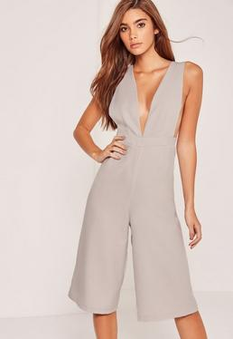 Crepe Side Boob Culotte Jumpsuit Grey