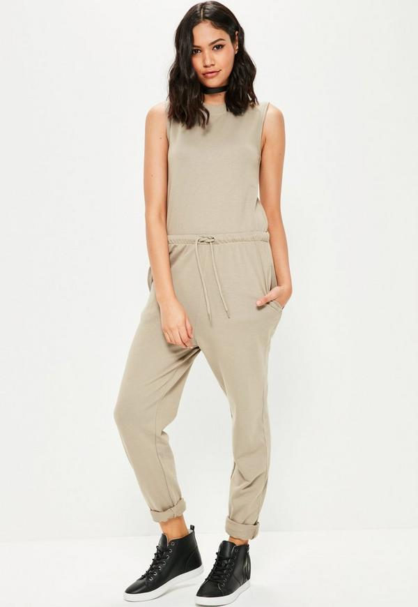 Green loop back sleeveless jumpsuit