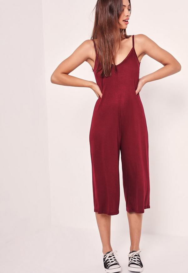 Jersey Strappy Plunge Culotte Jumpsuit Red