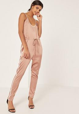 Rose Gold Satin Sports Striped Strappy Jumpsuit