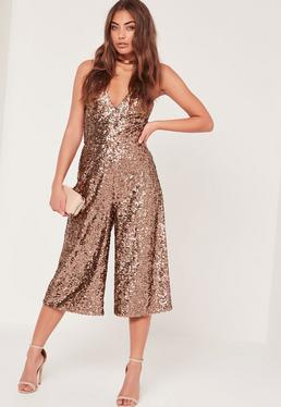 Sequin Culotte Jumpsuit Brown
