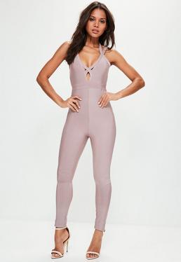 Grey Premium Bandage Strappy Harness Jumpsuit