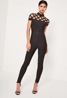 Premium-Bandage-Jumpsuit mit Gitterdesign in Schwarz