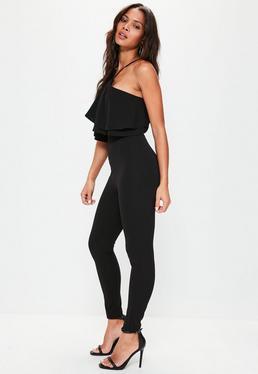 Black Halter Neck Double Layer Jumpsuit