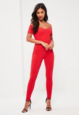 Red Short Sleeve Bardot Crepe Unitard Jumpsuit