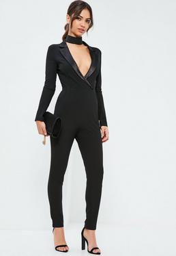 Black Satin Lapel Long Sleeve Tux Jumpsuit