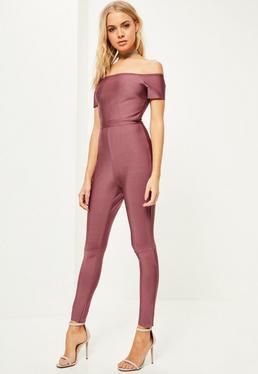 Pink Bardot Bandage Jumpsuit