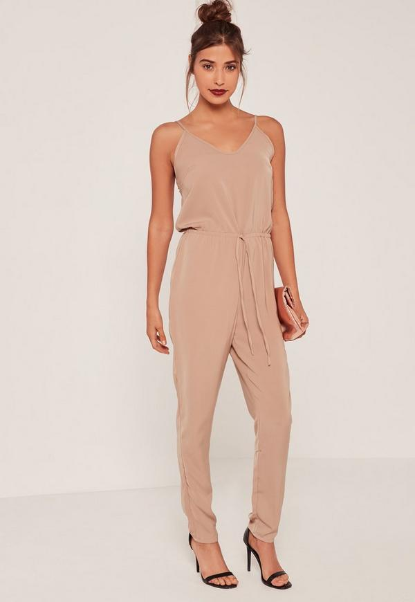 JOBBERS Camel Crepe Drawstring Waist Slouch Jumpsuit