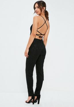 Black Criss Cross Back Full Lace Jumpsuit