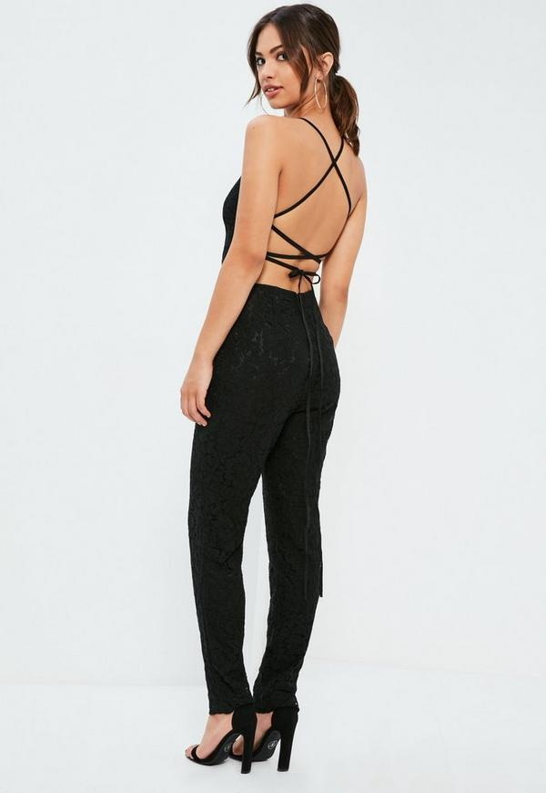Black Criss Cross Back Full Lace Jumpsuit