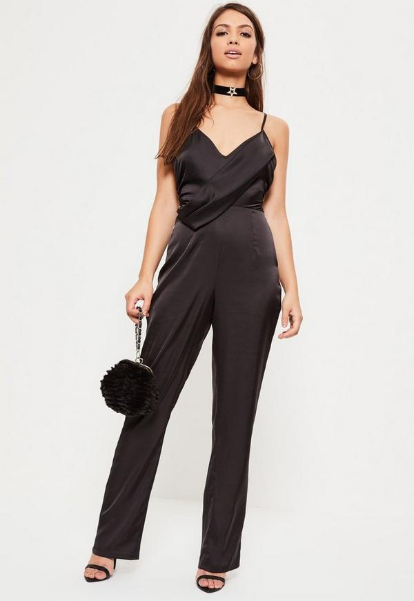 Black Strappy Satin Wrap Jumpsuit