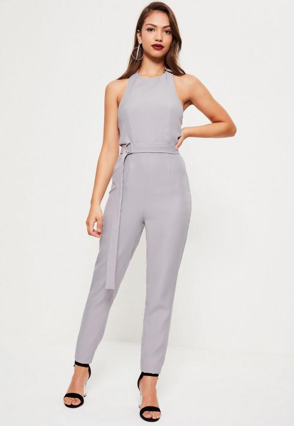 Grey D-ring Halterneck Jumpsuit