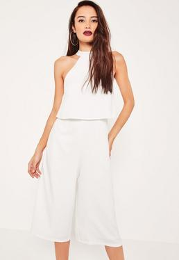 White Crepe Double Layer High Neck Culotte Jumpsuit
