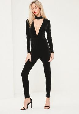 Snake Embossed Velvet Choker Jumpsuit Black