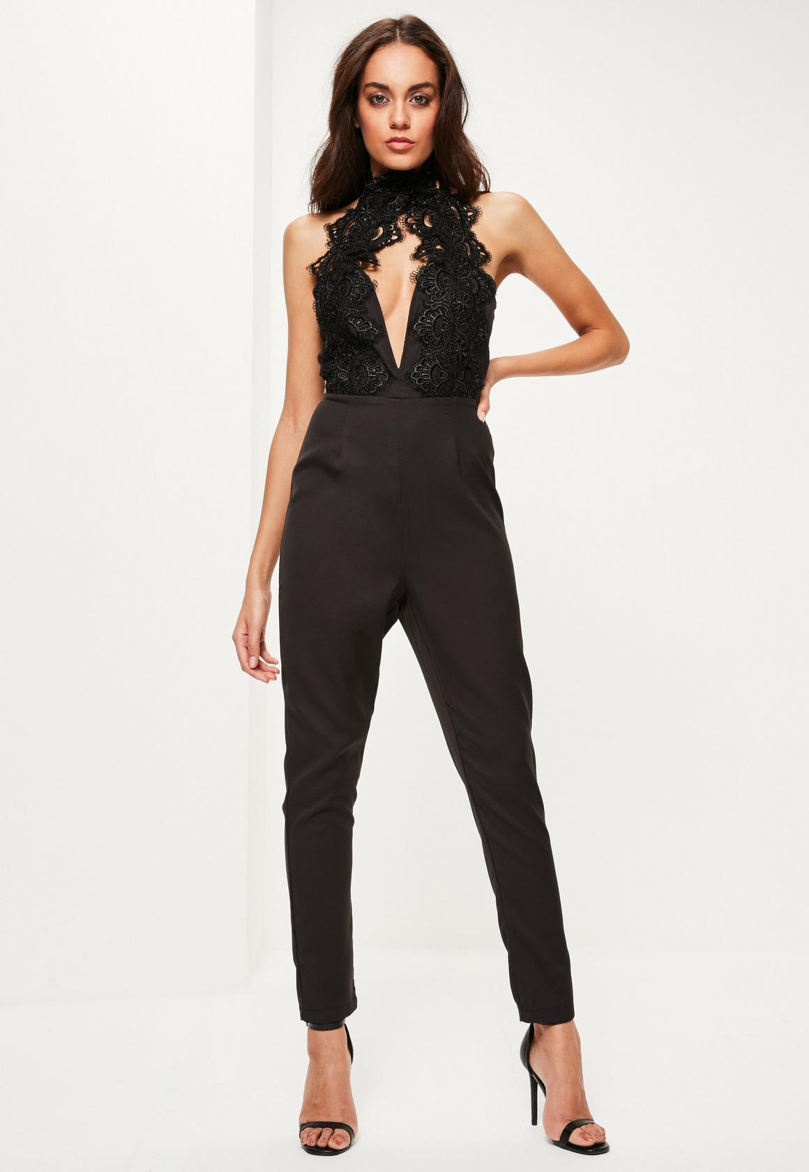 Black Lace Applique High Neck Plunge Jumpsuit - Missguided