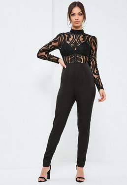 Black Lace Top Bra Insert Jumpsuit