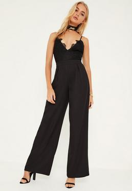 Black Lace Top Wide Leg Strappy Jumpsuit