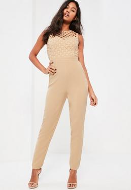 Nude High Neck Cross Lace Jumpsuit
