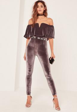 Grey Velvet Bardot Plunge Overlay Jumpsuit