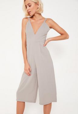 Grey Double Strap Plunge Culotte Jumpsuit