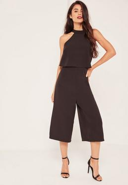 Black Double Layer High Neck Culotte Jumpsuit