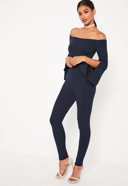 Navy Bardot Split Sleeve Jumpsuit