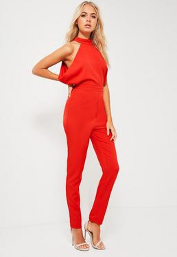 Red Drape Side High Neck Tailored Jumpsuit