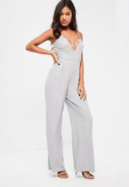 Grey Lace Top Wide Leg Strappy Jumpsuit