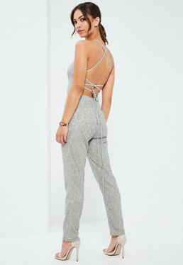 Grey Criss Cross Back Full Lace Jumpsuit