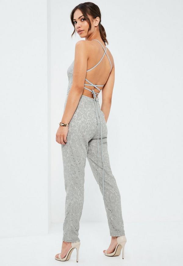 Grey Criss Cross Back Full Lace Jumpsuit
