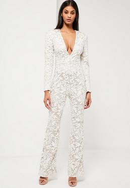 Peace + Love White Lace Plunge Jumpsuit
