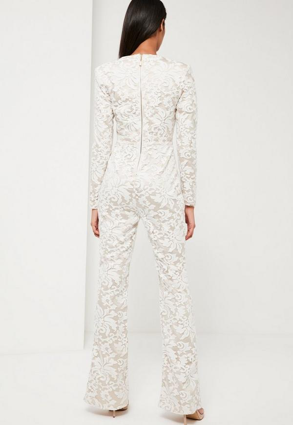 Peace + Love White Lace Plunge Jumpsuit | Missguided