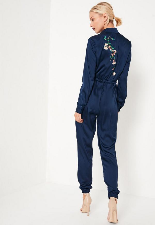 Navy Embroidered Back Satin Shirt Jumpsuit