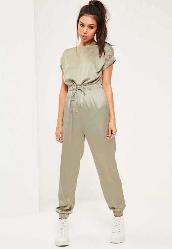 Green Silky Slouch Wide Sleeve Jumpsuit