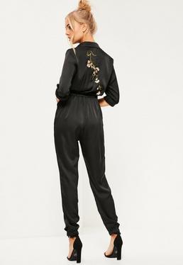 Black Embroidered Back Satin Jumpsuit