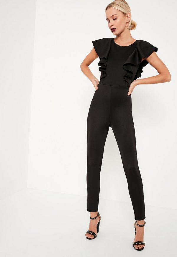 Black Frill Sleeve Open Back Jumpsuit