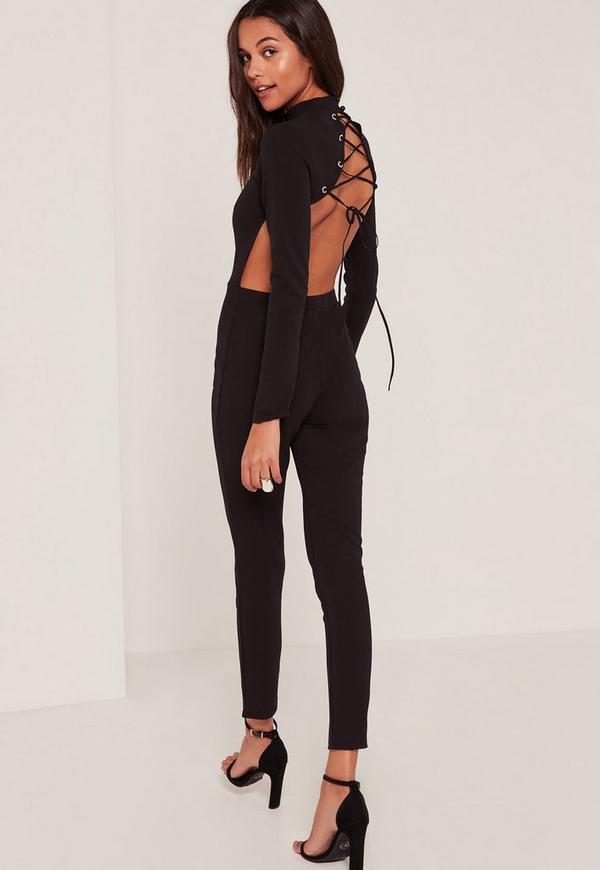 c599dd9c1c150 Black Lace Up Back High Neck Jumpsuit