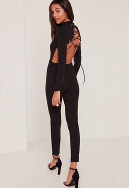Black Lace Up Back High Neck Jumpsuit