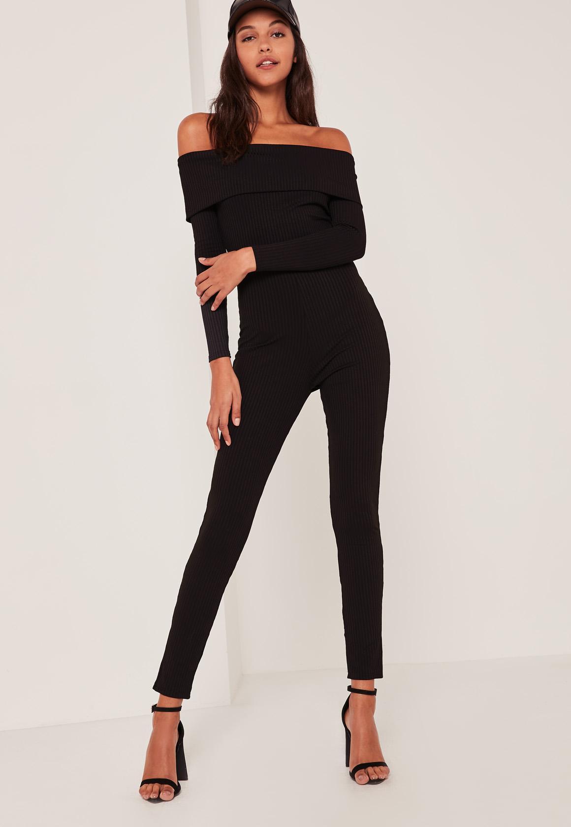 Black Fold Over Bardot Ribbed Jumpsuit - Missguided