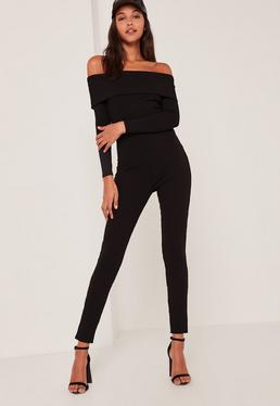 Black Fold Over Bardot Ribbed Jumpsuit