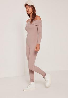 Pink Fold Over Bardot Ribbed Jumpsuit
