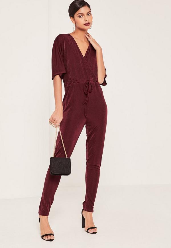 Burgundy Slinky Kimono Sleeve Wrap Jumpsuit