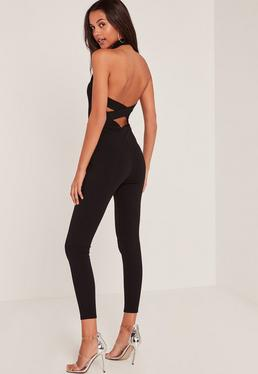 Black Crepe High Neck Unitard Jumpsuit