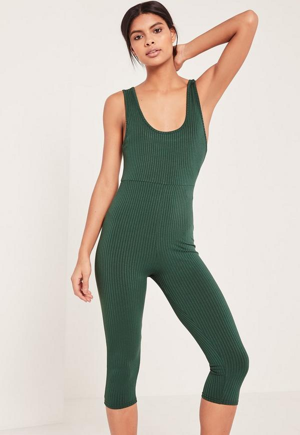 Green Ribbed Scoop Neck Cropped Unitard Jumpsuit