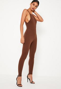 Brown Crepe Low Back Ankle Grazer Unitard Jumpsuit